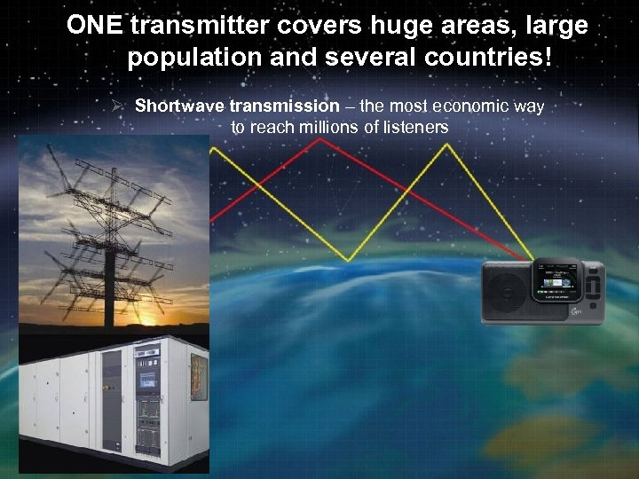 ONE transmitter covers huge areas, large population and several countries! Ø Shortwave transmission –