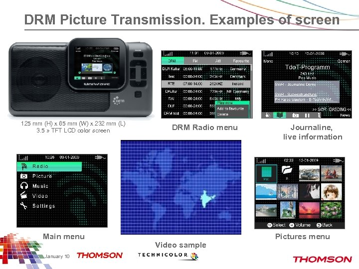 DRM Picture Transmission. Examples of screen 125 mm (H) x 65 mm (W) x