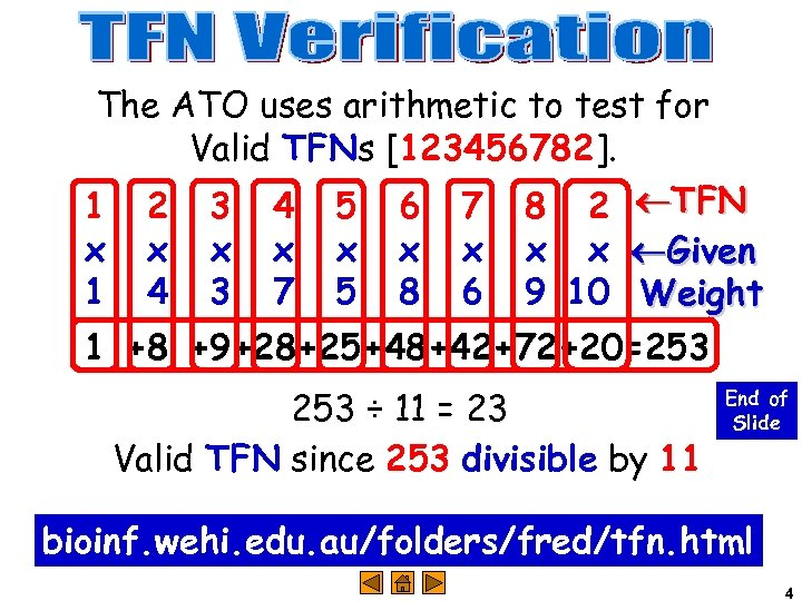 The ATO uses arithmetic to test for Valid TFNs [123456782]. 1 2 3 4