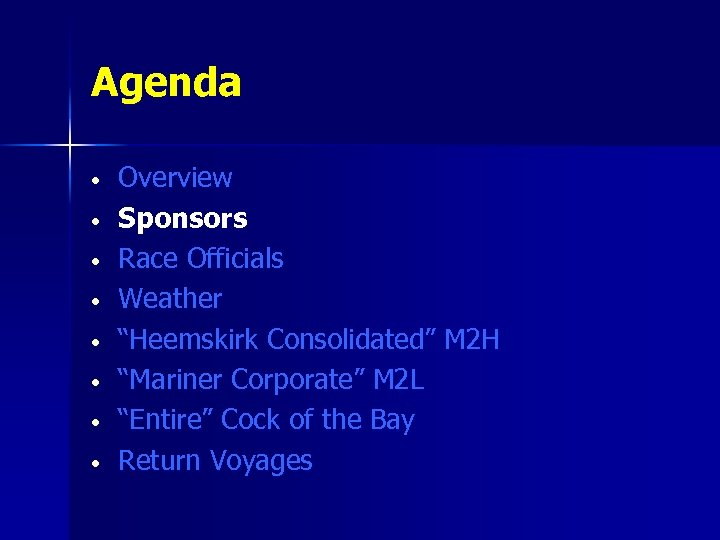 "Agenda • • Overview Sponsors Race Officials Weather ""Heemskirk Consolidated"" M 2 H ""Mariner"