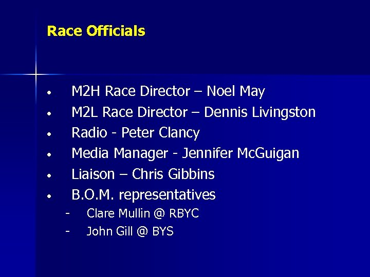 Race Officials M 2 H Race Director – Noel May M 2 L Race