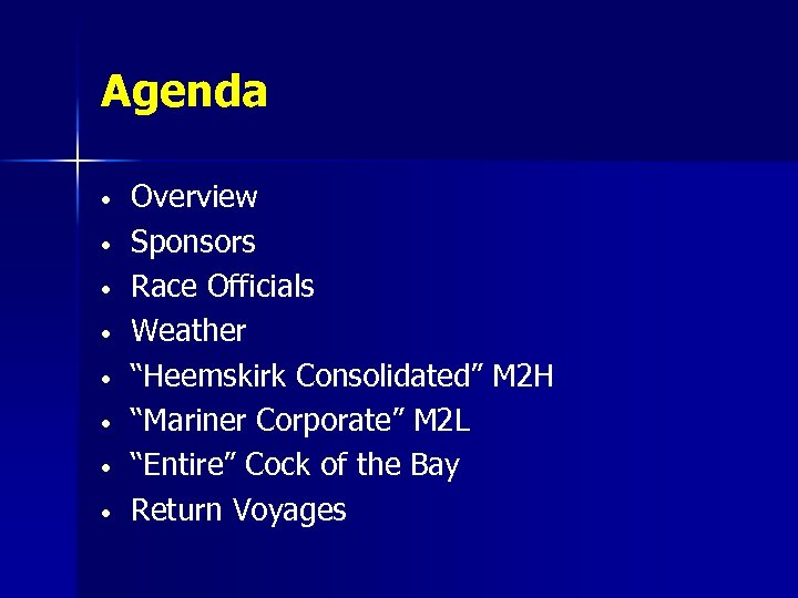 """Agenda • • Overview Sponsors Race Officials Weather """"Heemskirk Consolidated"""" M 2 H """"Mariner"""