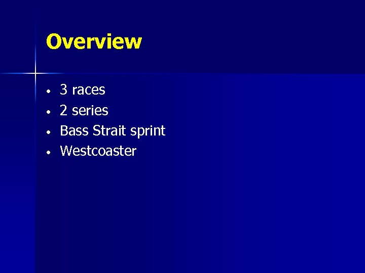 Overview • • 3 races 2 series Bass Strait sprint Westcoaster