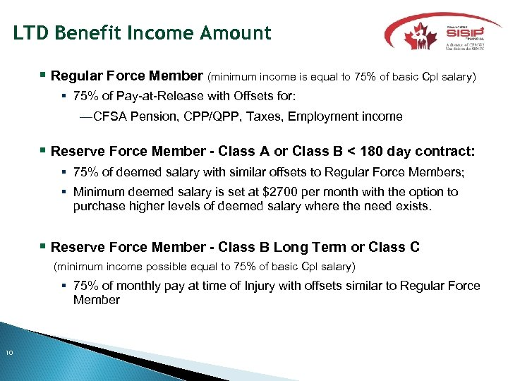 LTD Benefit Income Amount Regular Force Member (minimum income is equal to 75% of