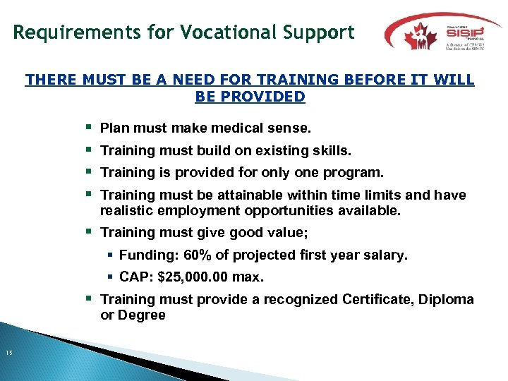 Requirements for Vocational Support THERE MUST BE A NEED FOR TRAINING BEFORE IT WILL
