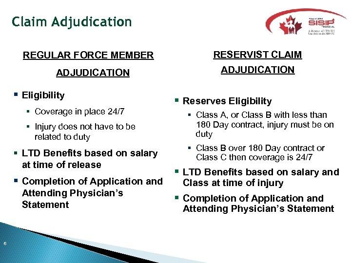 Claim Adjudication REGULAR FORCE MEMBER ADJUDICATION Eligibility Coverage in place 24/7 Injury does not