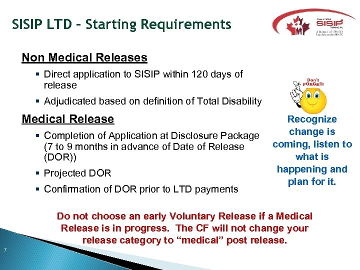 SISIP LTD – Starting Requirements Non Medical Releases Direct application to SISIP within 120