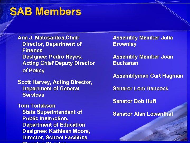 SAB Members Ana J. Matosantos, Chair Director, Department of Finance Designee: Pedro Reyes, Acting