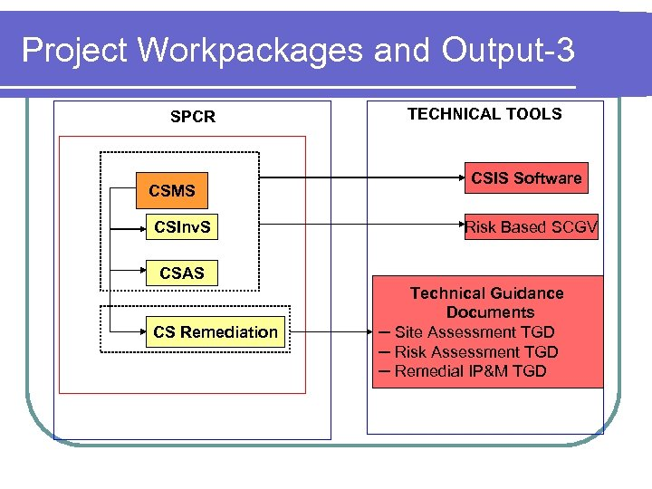 Project Workpackages and Output-3 SPCR CSMS CSInv. S TECHNICAL TOOLS CSIS Software Risk Based