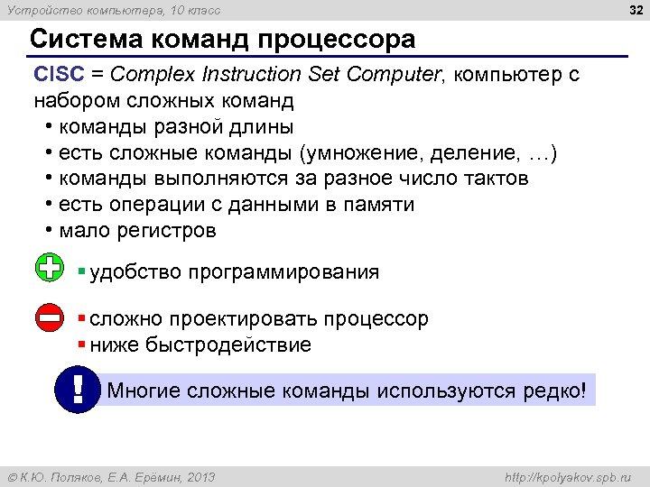 32 Устройство компьютера, 10 класс Система команд процессора CISC = Complex Instruction Set Computer,