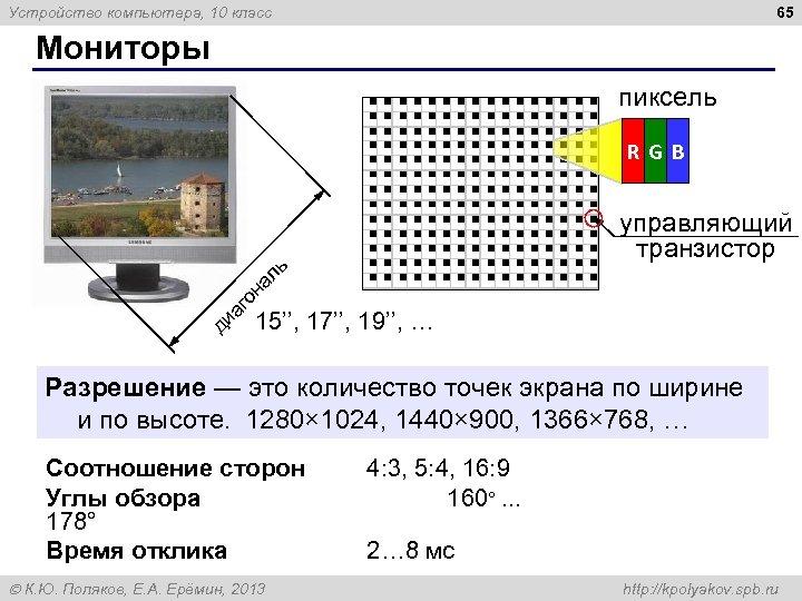 65 Устройство компьютера, 10 класс Мониторы пиксель R GB ди аг о на ль
