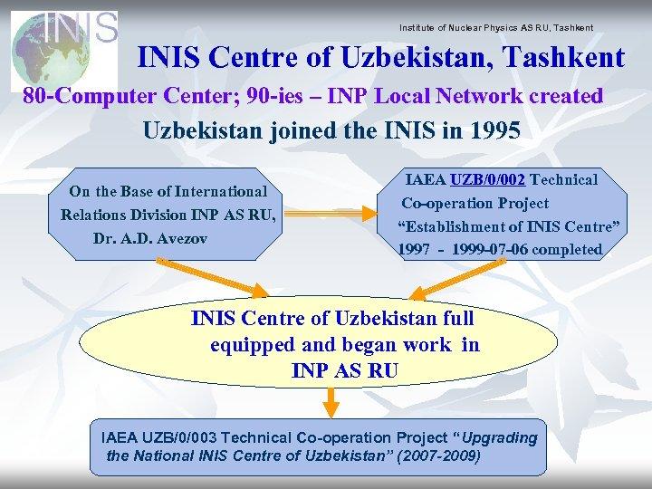 Institute of Nuclear Physics AS RU, Tashkent INIS Centre of Uzbekistan, Tashkent 80 -Computer