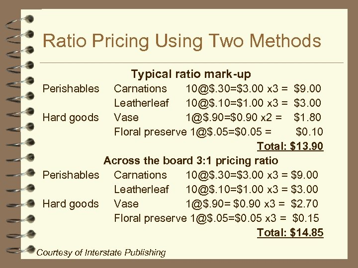 Ratio Pricing Using Two Methods Typical ratio mark-up Perishables Carnations 10@$. 30=$3. 00 x