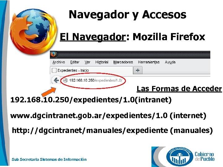 Navegador y Accesos El Navegador: Mozilla Firefox Las Formas de Acceder 192. 168. 10.