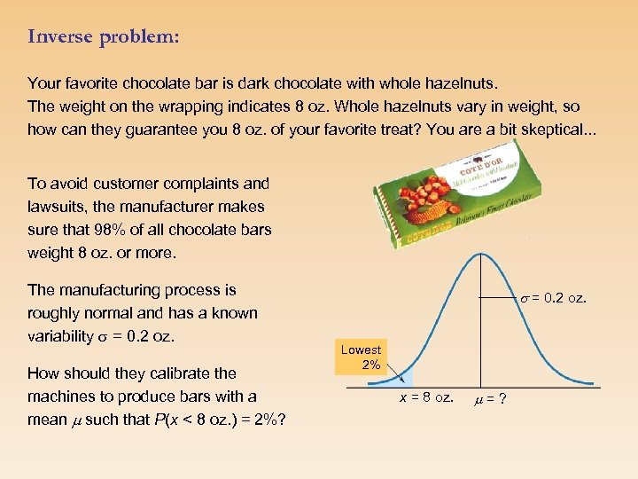 Inverse problem: Your favorite chocolate bar is dark chocolate with whole hazelnuts. The weight
