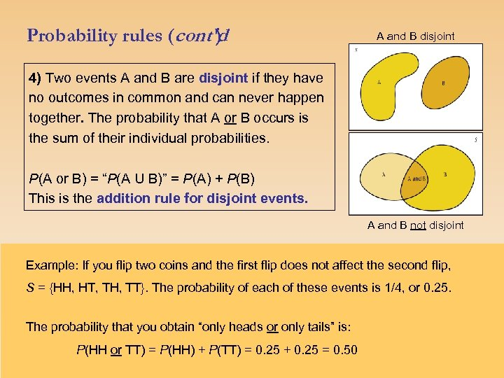 Probability rules (cont'd ) A and B disjoint 4) Two events A and B