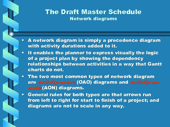The Draft Master Schedule Network diagrams • A network diagram is simply a precedence