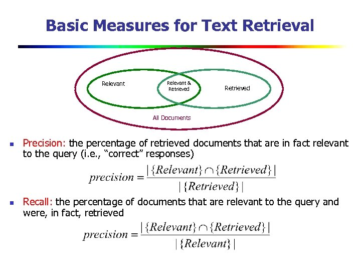 Basic Measures for Text Retrieval Relevant & Retrieved All Documents n n Precision: the