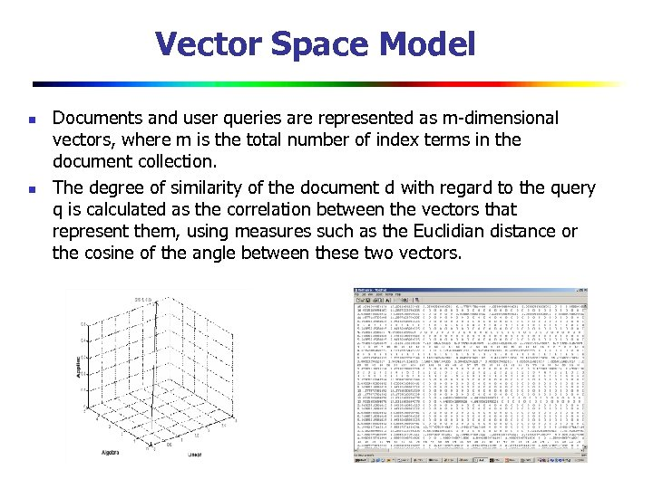 Vector Space Model n n Documents and user queries are represented as m-dimensional vectors,