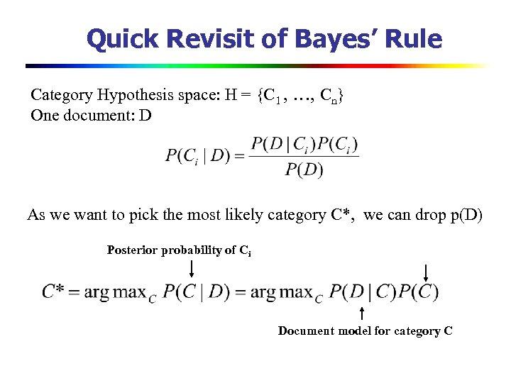 Quick Revisit of Bayes' Rule Category Hypothesis space: H = {C 1 , …,
