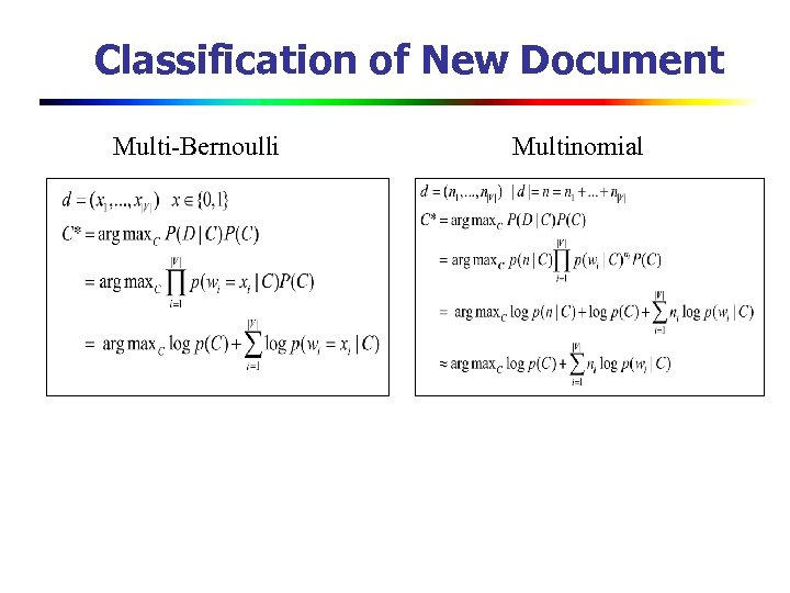 Classification of New Document Multi-Bernoulli Multinomial
