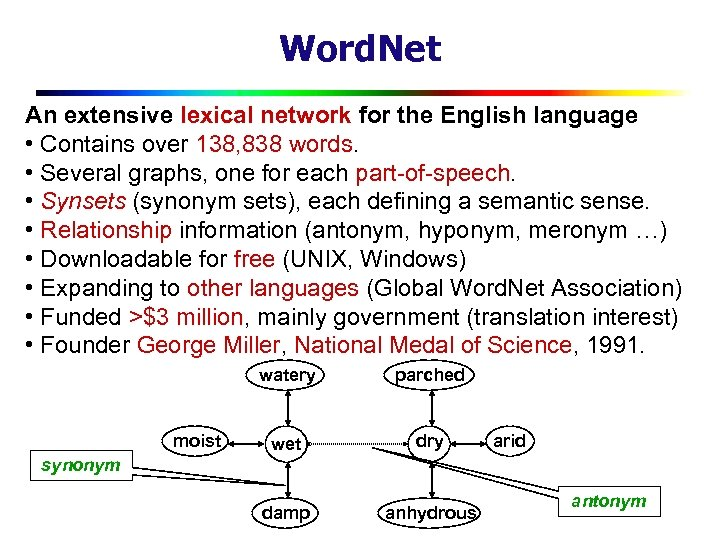 Word. Net An extensive lexical network for the English language • Contains over 138,