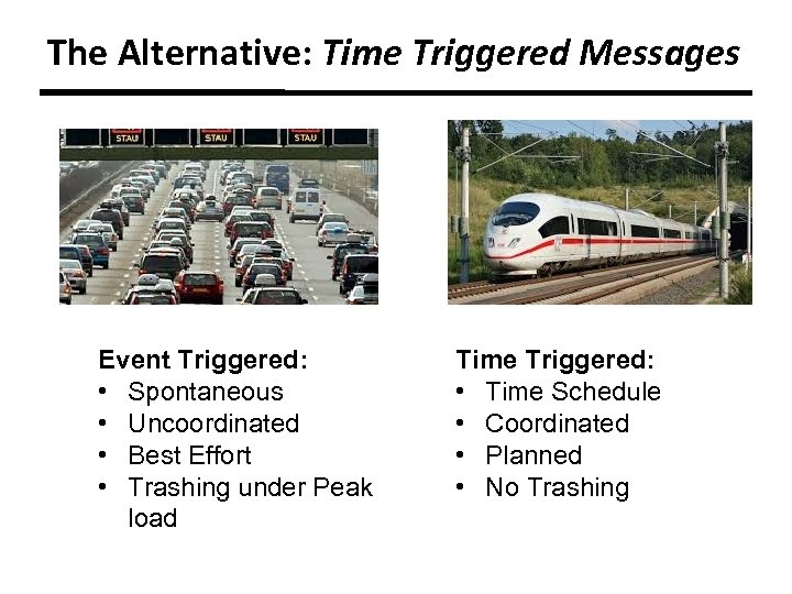 The Alternative: Time Triggered Messages Event Triggered: • Spontaneous • Uncoordinated • Best Effort