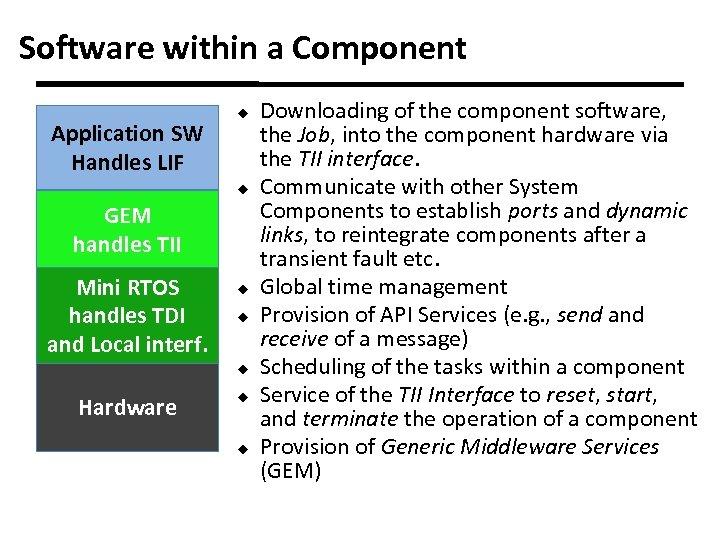 Software within a Component Application SW Handles LIF u u GEM handles TII Mini