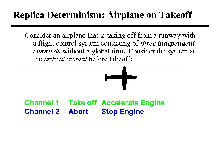 Replica Determinism: Airplane on Takeoff Consider an airplane that is taking off from a