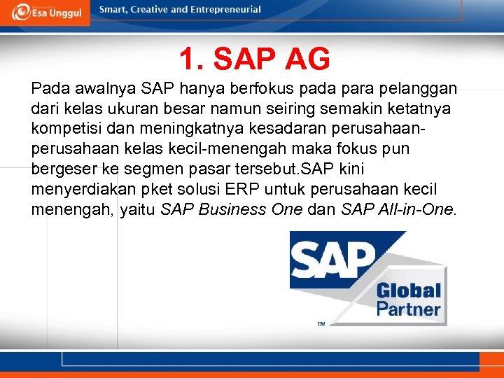 1. SAP AG Pada awalnya SAP hanya berfokus pada para pelanggan dari kelas ukuran