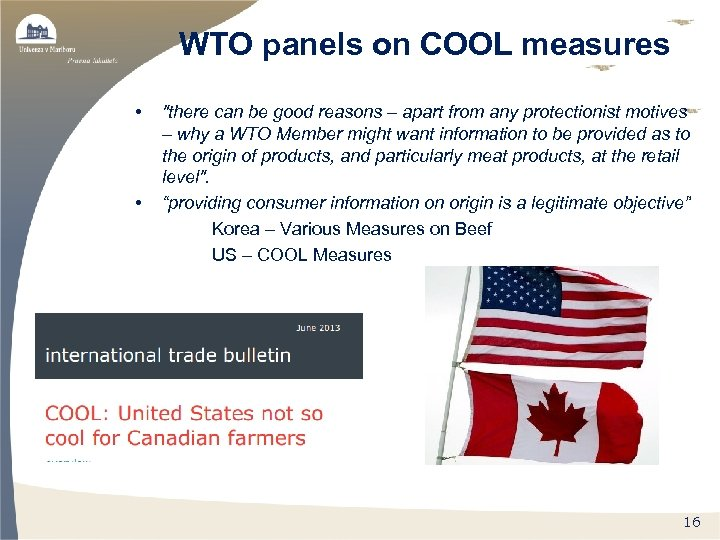 WTO panels on COOL measures • •