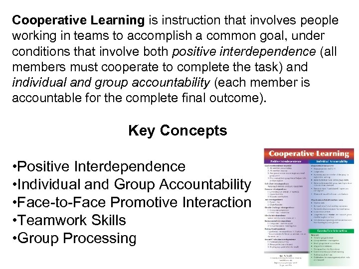 Cooperative Learning is instruction that involves people working in teams to accomplish a common