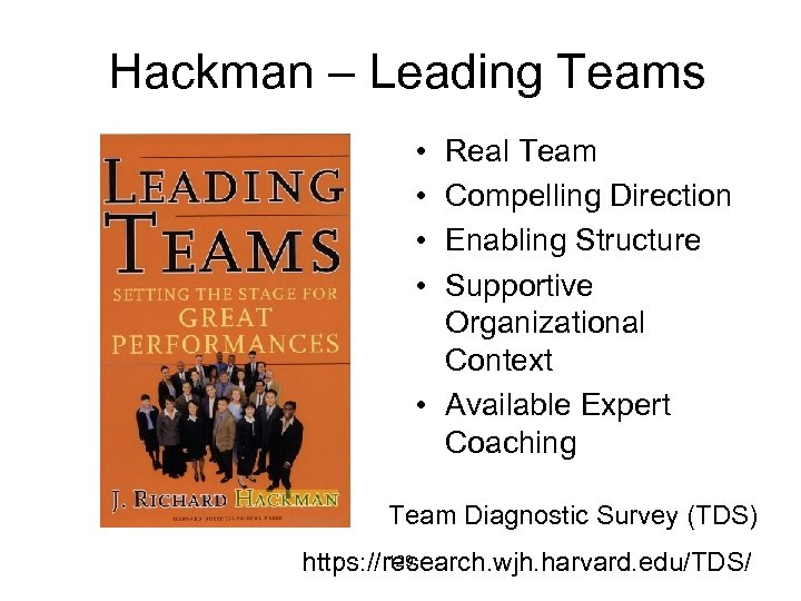 Hackman – Leading Teams • • Real Team Compelling Direction Enabling Structure Supportive Organizational