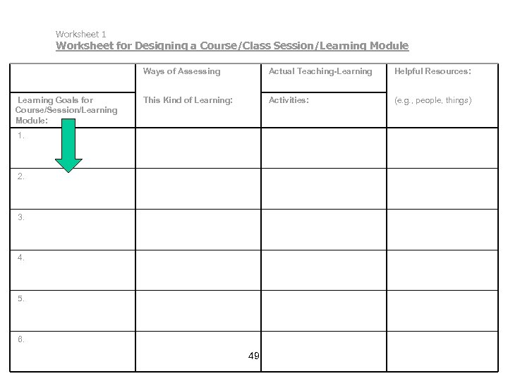 Worksheet 1 Worksheet for Designing a Course/Class Session/Learning Module Ways of Assessing Learning Goals