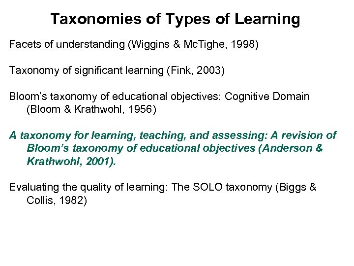 Taxonomies of Types of Learning Facets of understanding (Wiggins & Mc. Tighe, 1998) Taxonomy