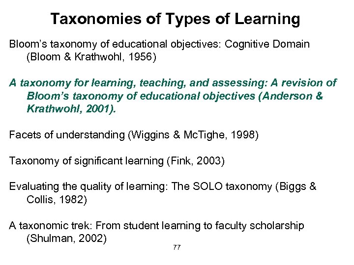 Taxonomies of Types of Learning Bloom's taxonomy of educational objectives: Cognitive Domain (Bloom &