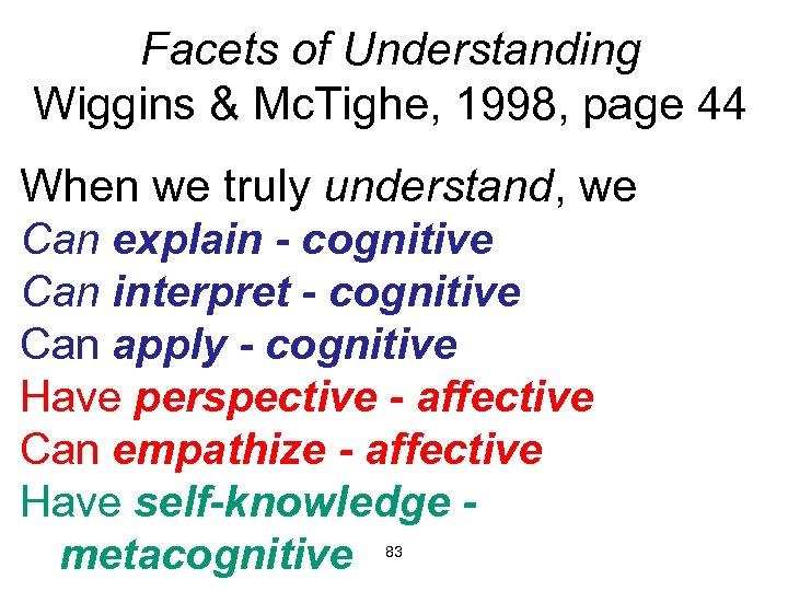 Facets of Understanding Wiggins & Mc. Tighe, 1998, page 44 When we truly understand,