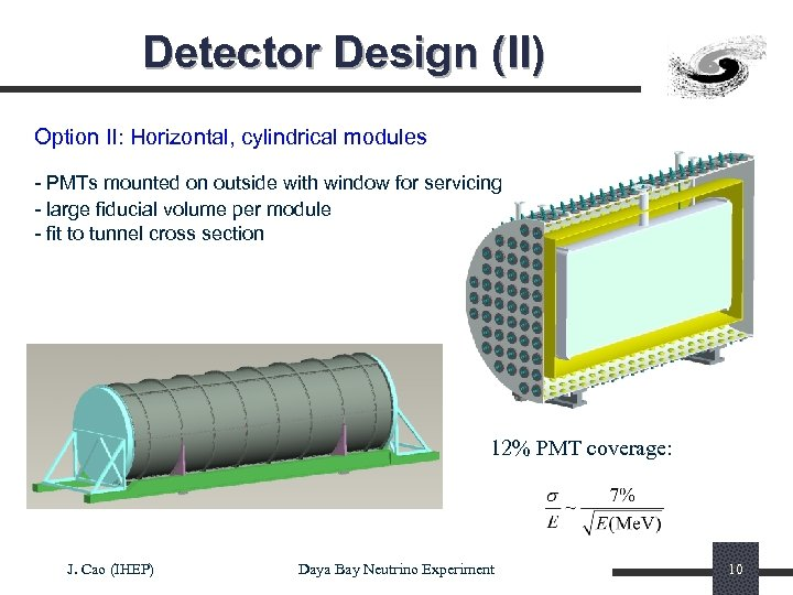 Detector Design (II) Option II: Horizontal, cylindrical modules - PMTs mounted on outside with