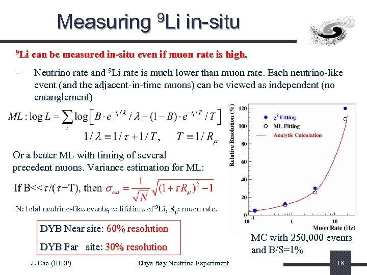 Measuring 9 Li in-situ 9 Li – can be measured in-situ even if muon