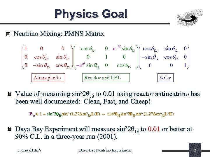 Physics Goal Neutrino Mixing: PMNS Matrix Atmospheric Reactor and LBL Solar Value of measuring