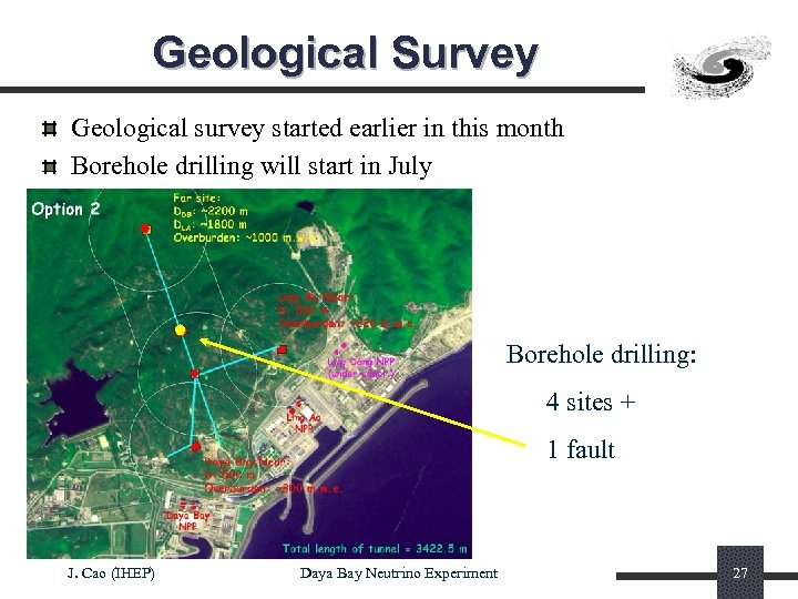 Geological Survey Geological survey started earlier in this month Borehole drilling will start in
