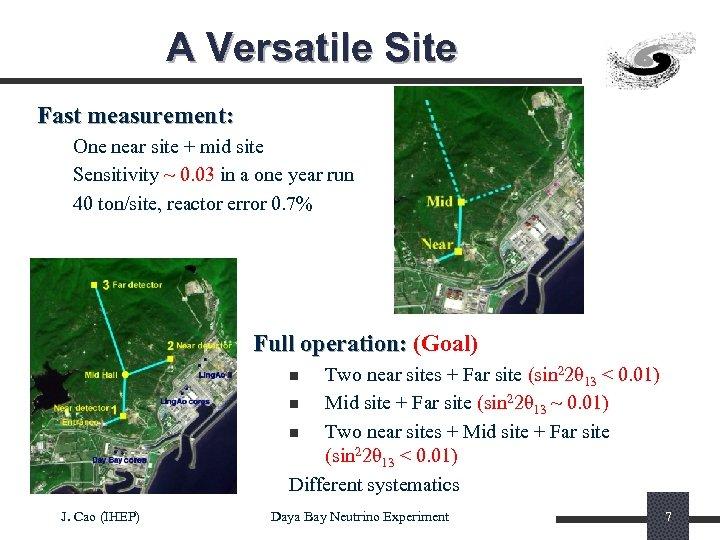 A Versatile Site Fast measurement: One near site + mid site Sensitivity ~ 0.