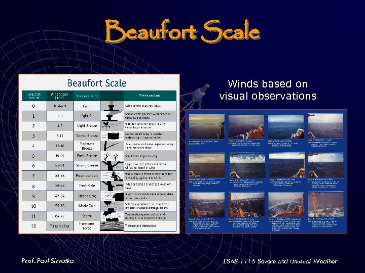 Beaufort Scale Winds based on visual observations Prof. Paul Sirvatka ESAS 1115 Severe and