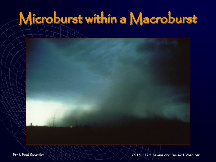 Microburst within a Macroburst Prof. Paul Sirvatka ESAS 1115 Severe and Unusual Weather