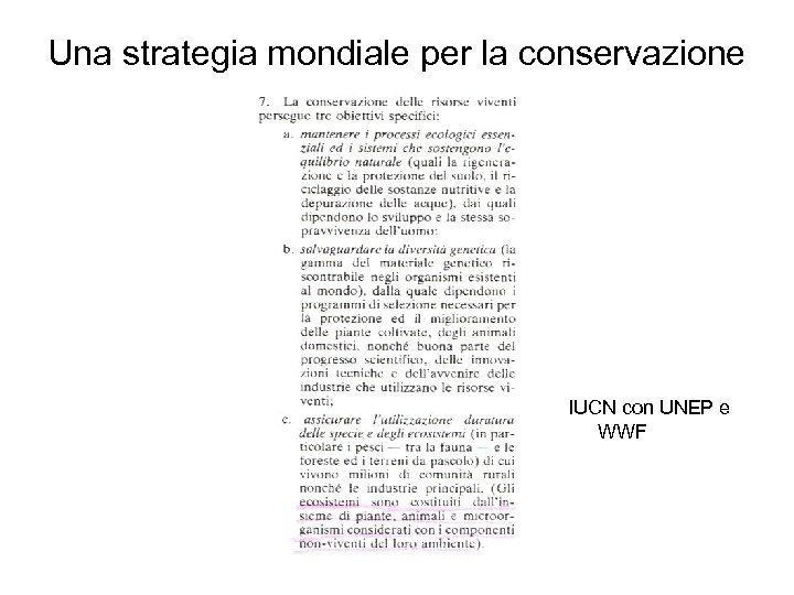 Una strategia mondiale per la conservazione IUCN con UNEP e WWF