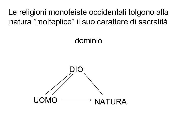 """Le religioni monoteiste occidentali tolgono alla natura """"molteplice"""" il suo carattere di sacralità dominio"""