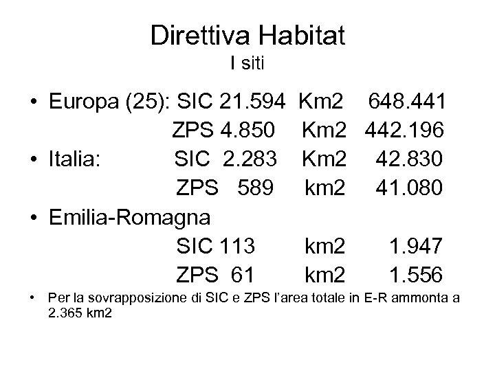 Direttiva Habitat I siti • Europa (25): SIC 21. 594 Km 2 648. 441