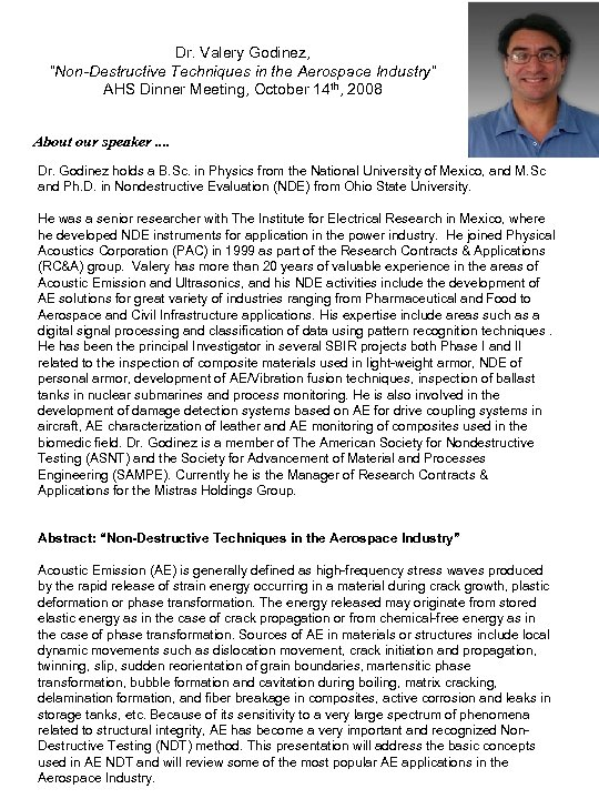 """Dr. Valery Godinez, """"Non-Destructive Techniques in the Aerospace Industry"""" AHS Dinner Meeting, October 14"""