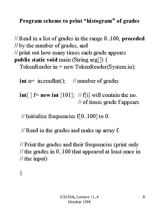 "Program scheme to print ""histogram"" of grades // Read in a list of grades"