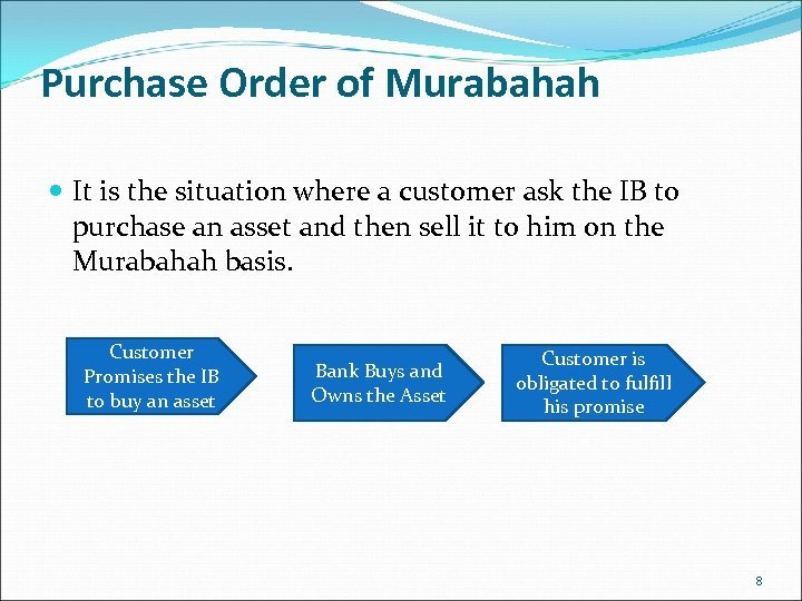 Purchase Order of Murabahah It is the situation where a customer ask the IB